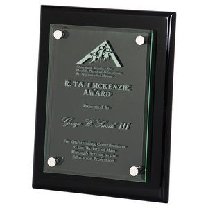 "8"" x 10"" Black Piano Finish Floating Acrylic Plaque"